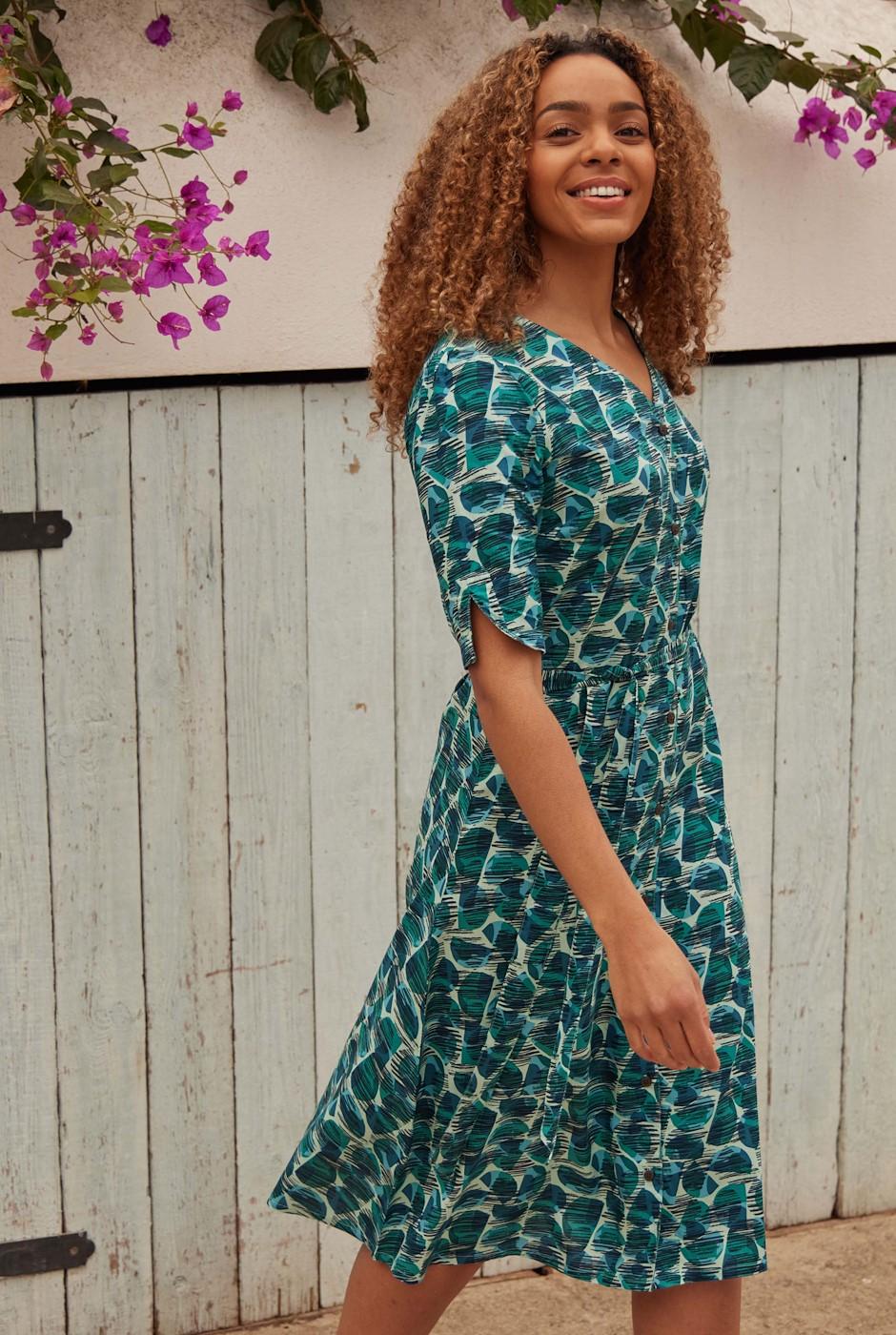 Milli Printed Viscose Midi Dress Bottle Green