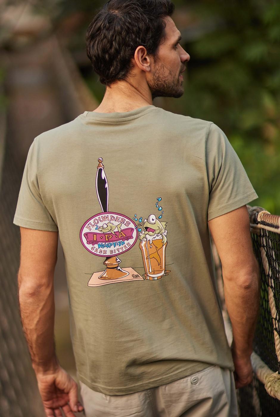 Flounders Bitter Organic Cotton Artist T-Shirt Khaki Grey