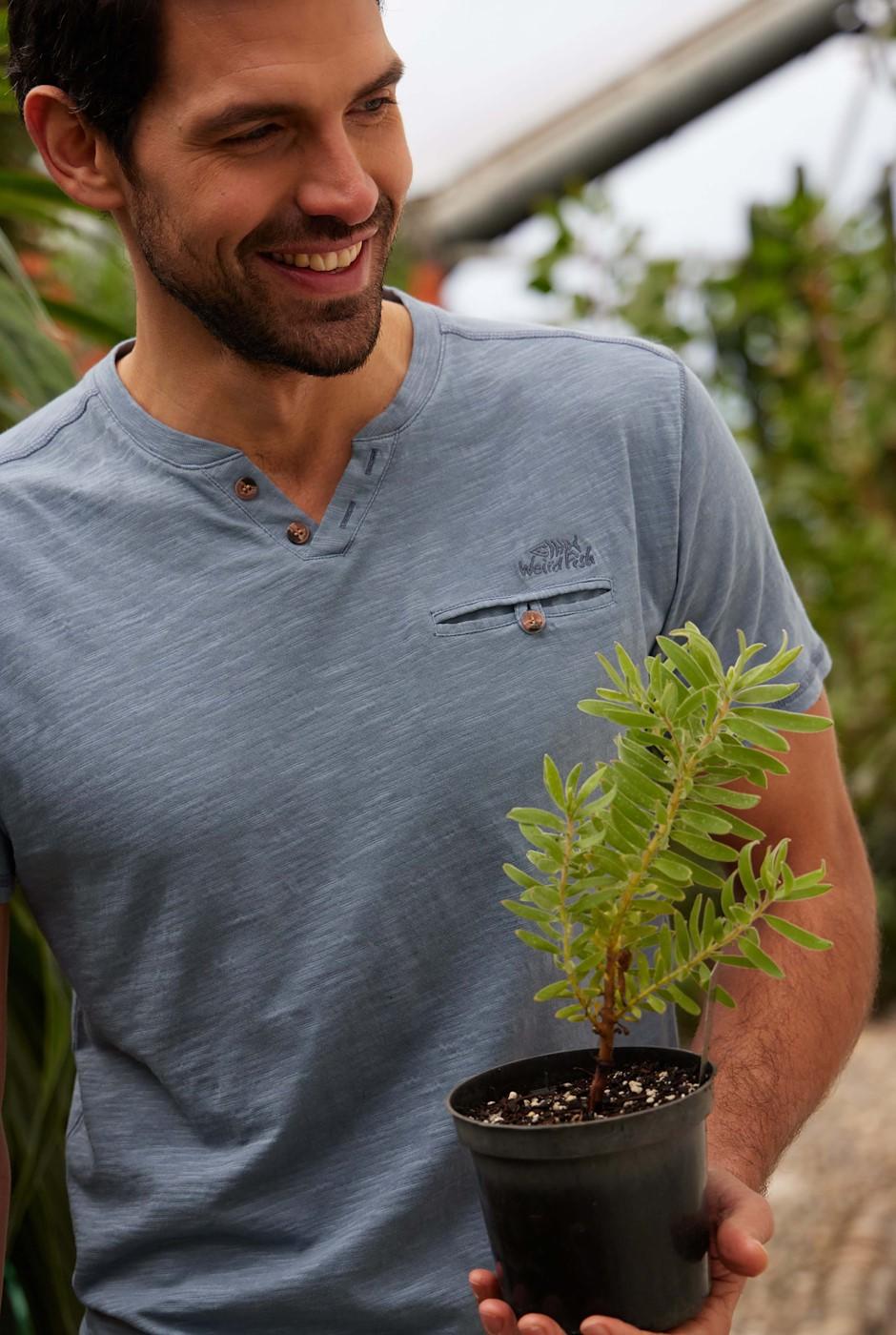 Barrett Short Sleeve Henley T-Shirt Blue Mirage