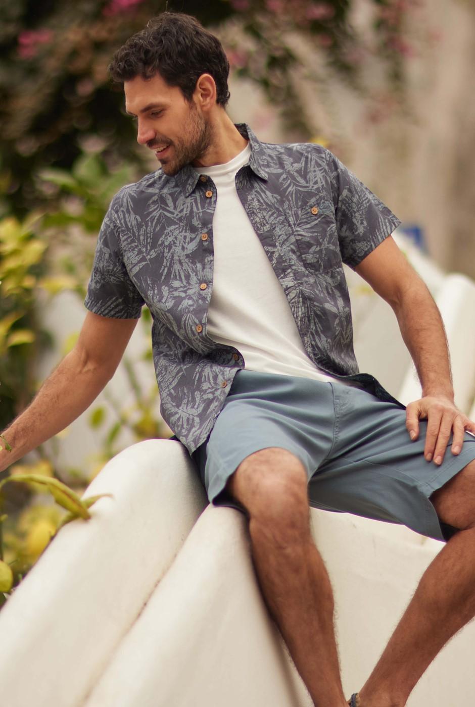 Thomkins Organic Cotton Hawaiian Print Shirt Navy
