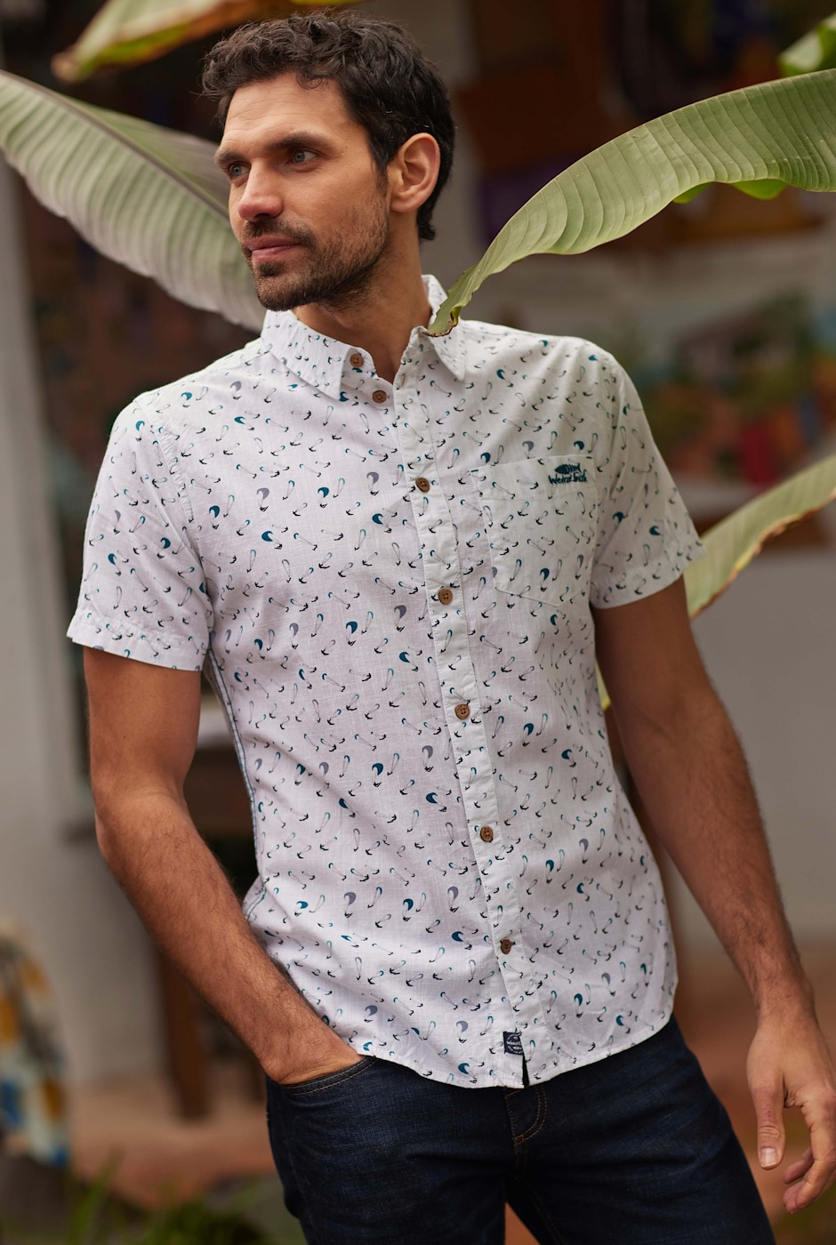Gillespie Organic Cotton Printed Shirt White