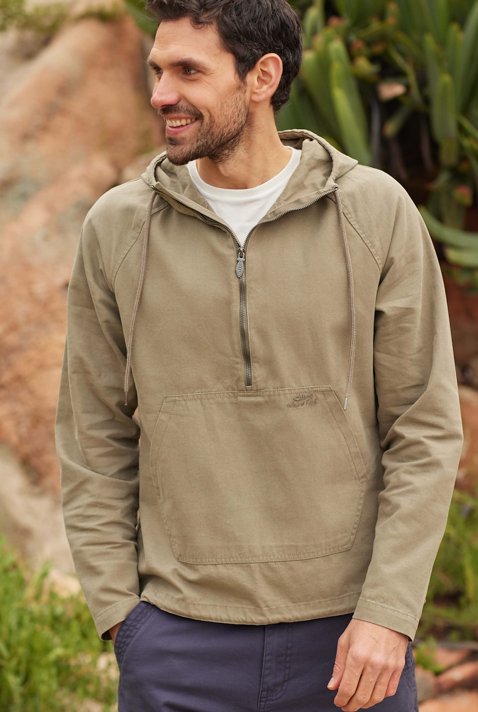 Hogarth Washed Canvas Popover Jacket Khaki Grey