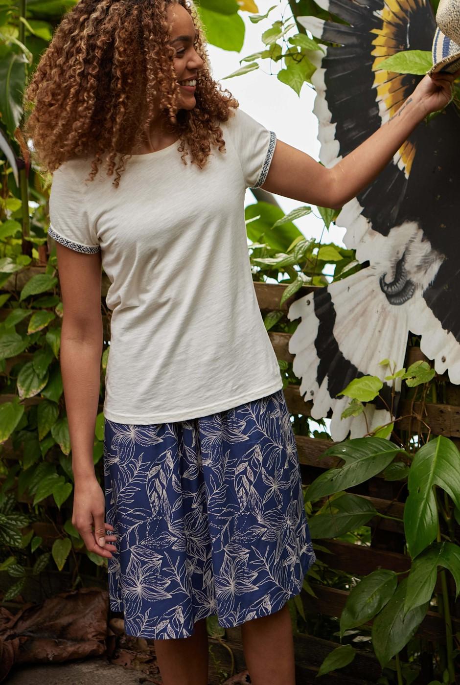 Bonnie Printed Viscose Midi Skirt Ensign Blue