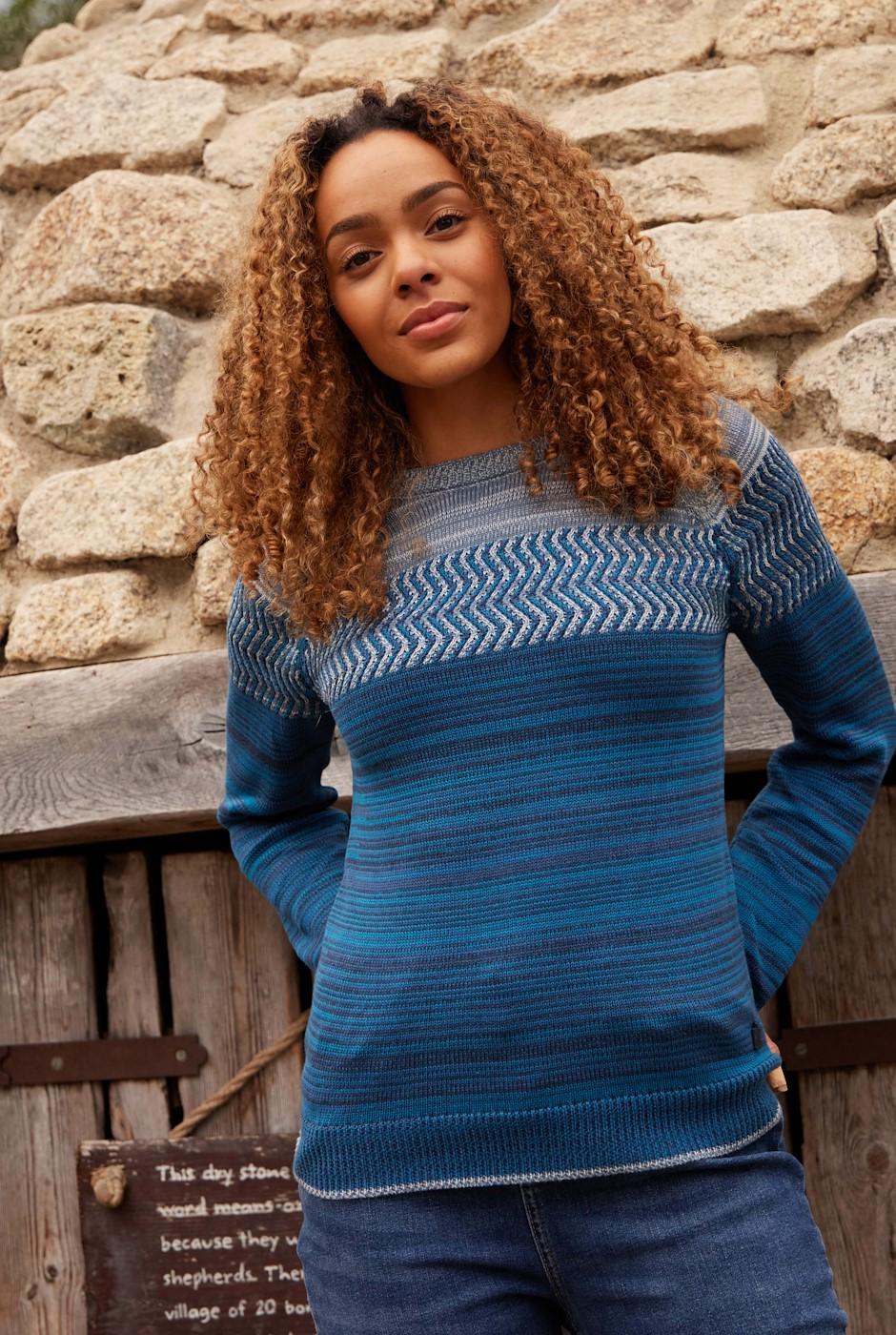 Silves Organic Cotton Fine Knit Jumper Navy