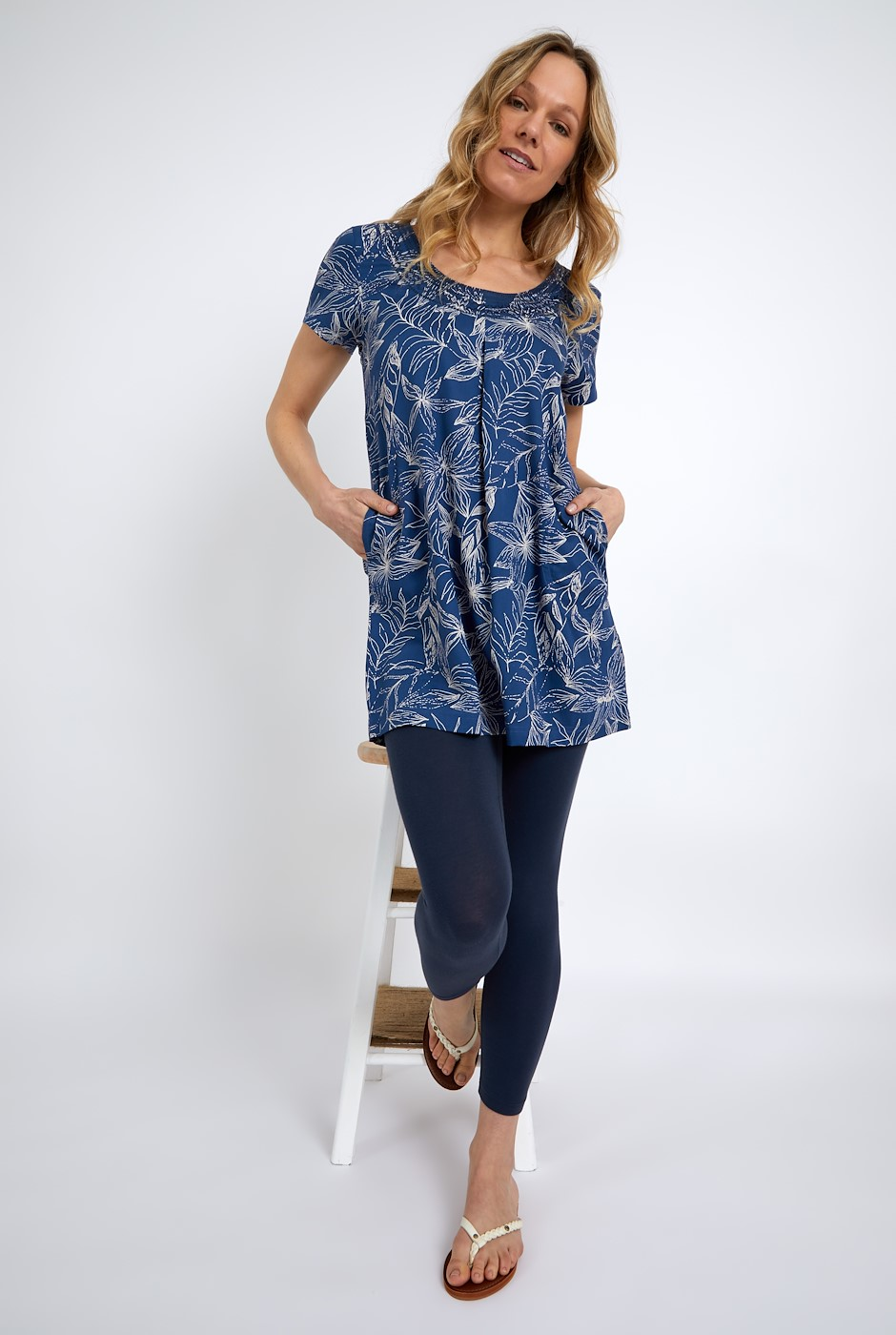 Santo Embroidered Viscose Tunic Ensign Blue