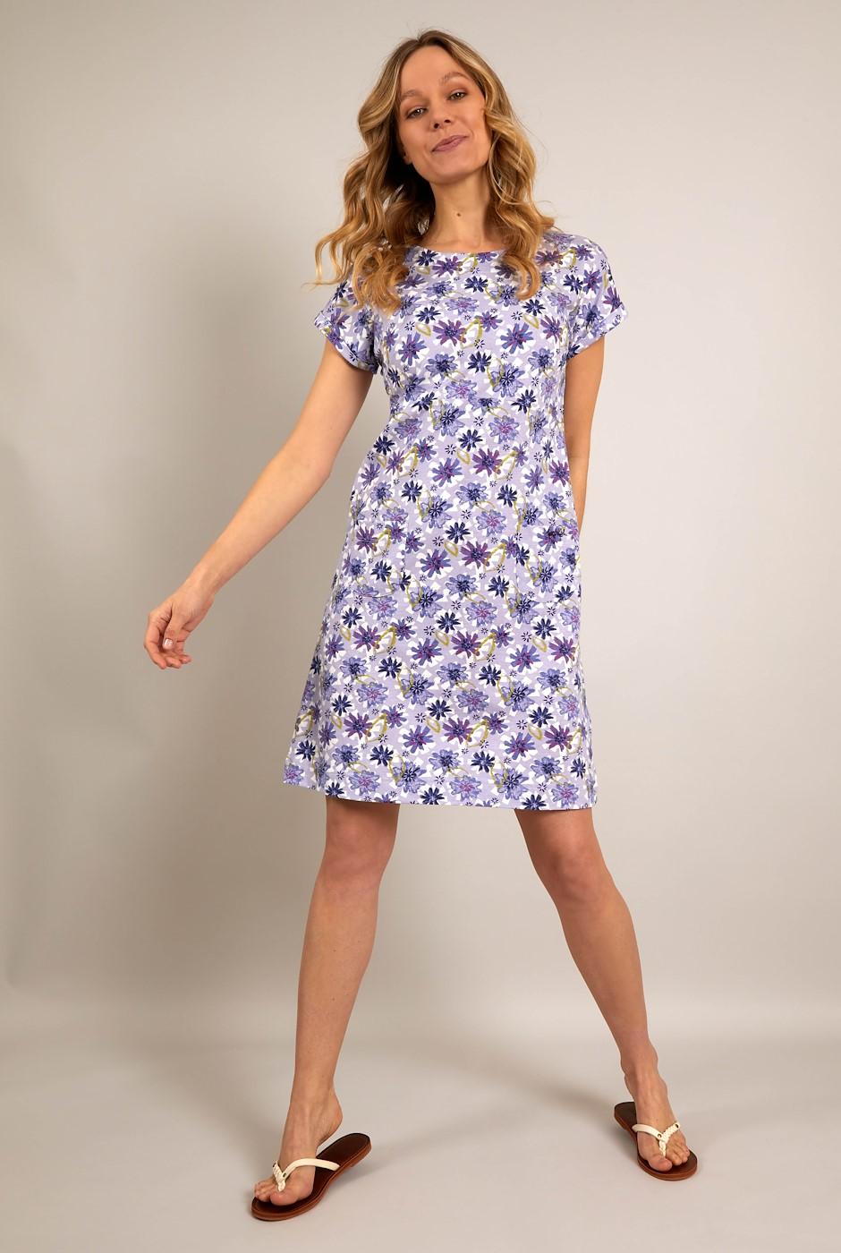 Tallahassee Organic Cotton Printed Jersey Dress Lilac Hint