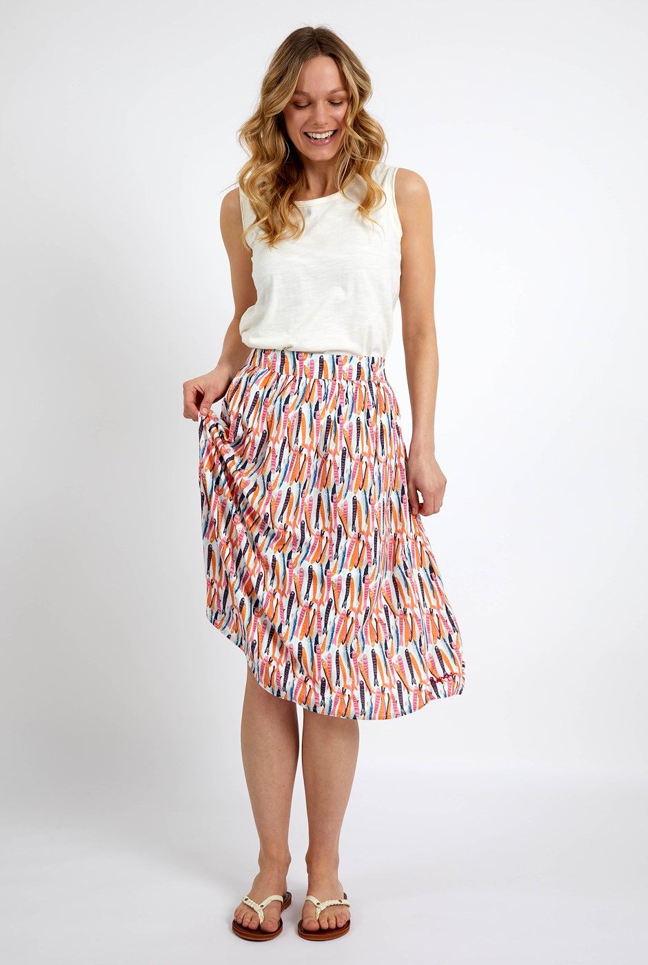 Bonnie Printed Viscose Midi Skirt Light Cream