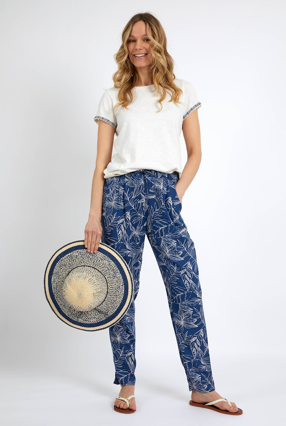 Tinto Printed Viscose Trousers Ensign Blue