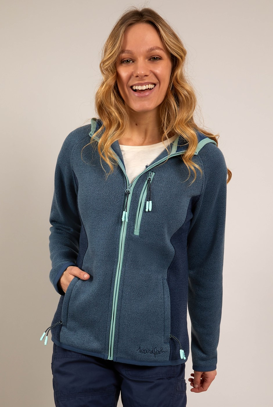 Sidonie Colour Block Soft Knit Hoodie Navy