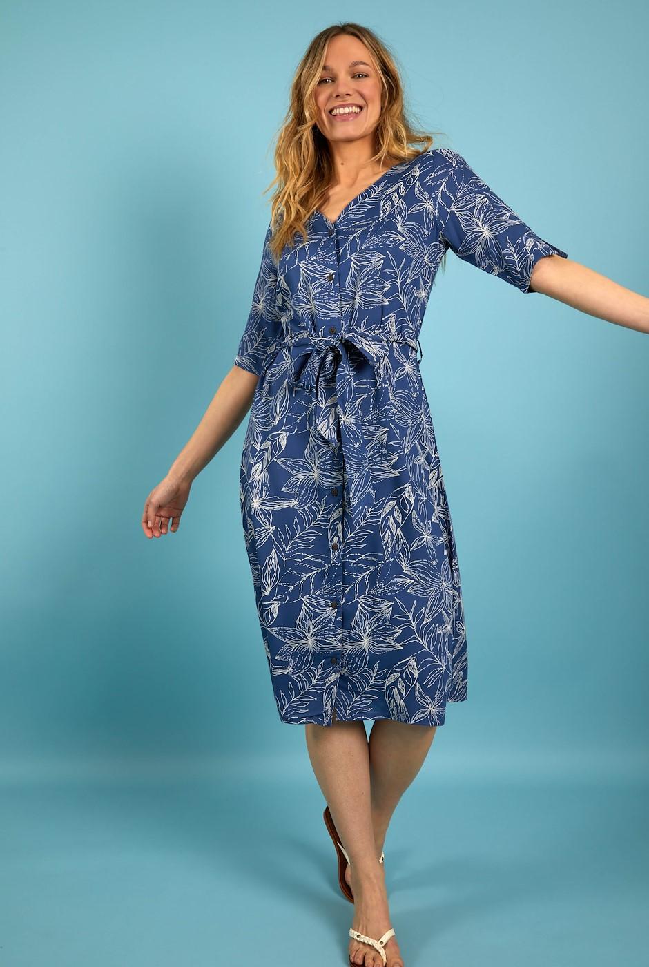 Milli Printed Viscose Midi Dress Ensign Blue