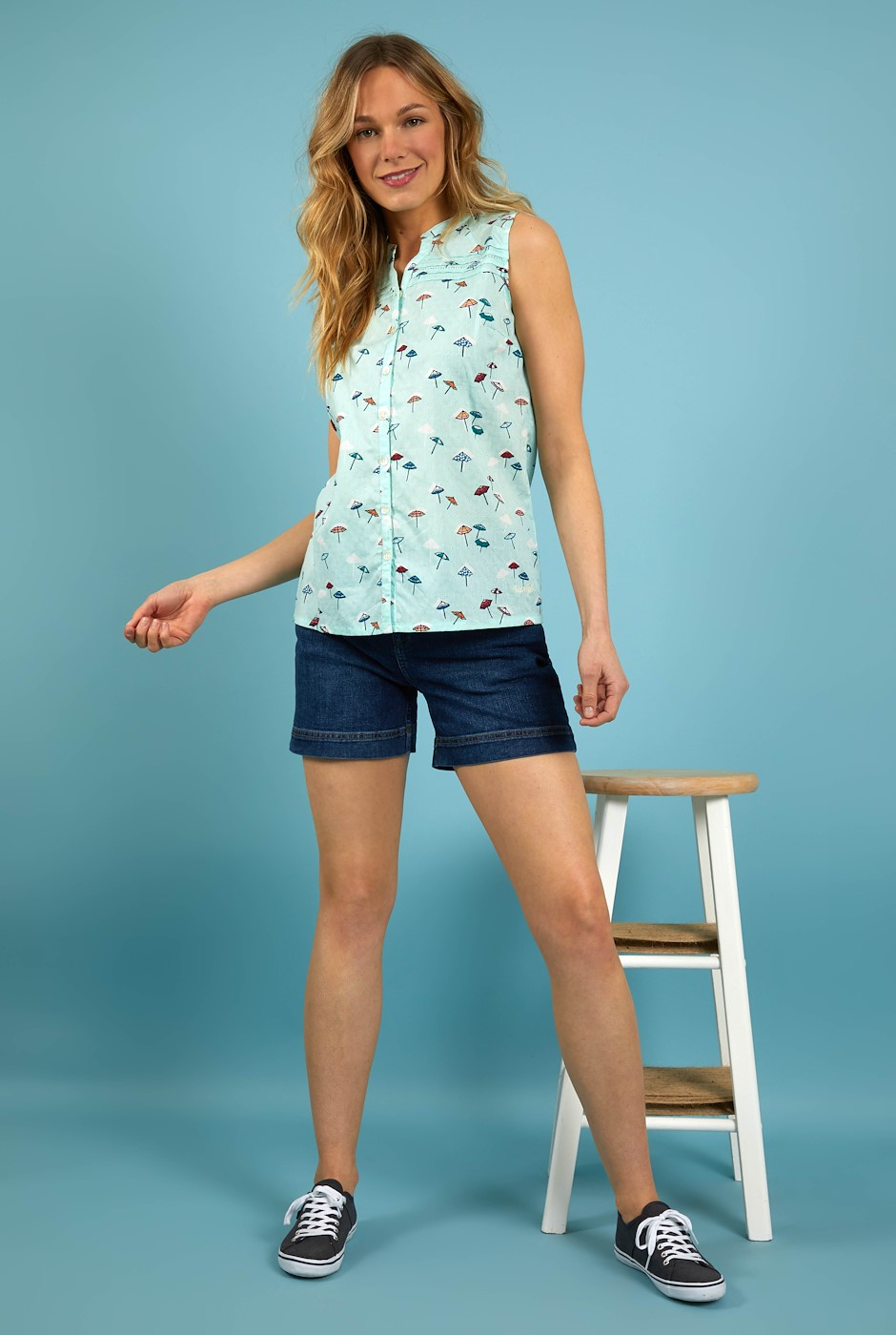 Lazio Organic Cotton Printed Sleeveless Shirt Seafoam