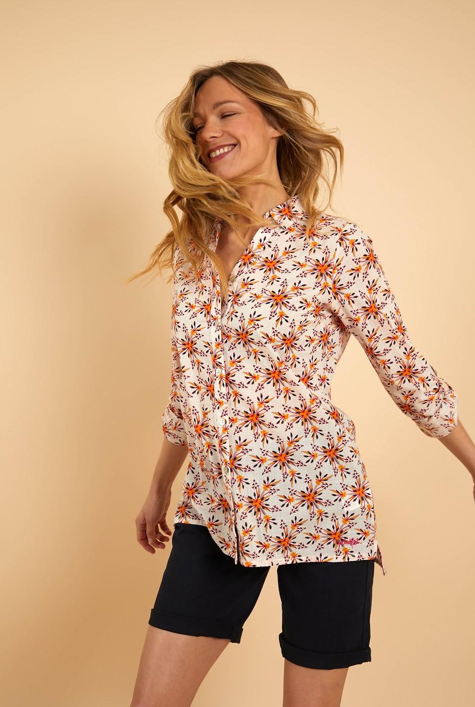 Pessoa Organic Cotton Longline Shirt Light Cream