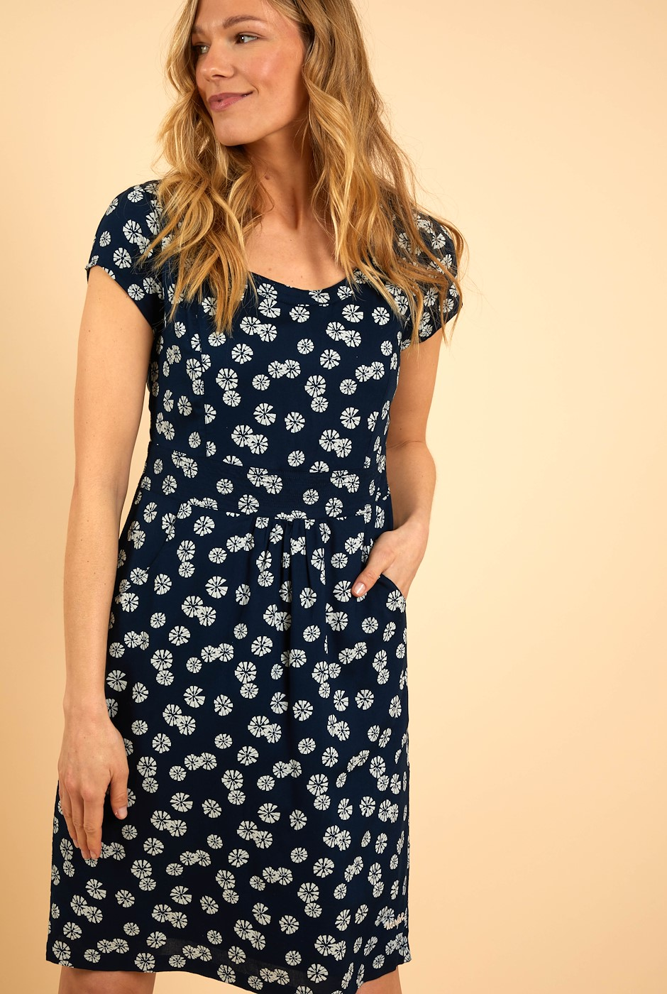 Satso Printed Viscose Dress Navy