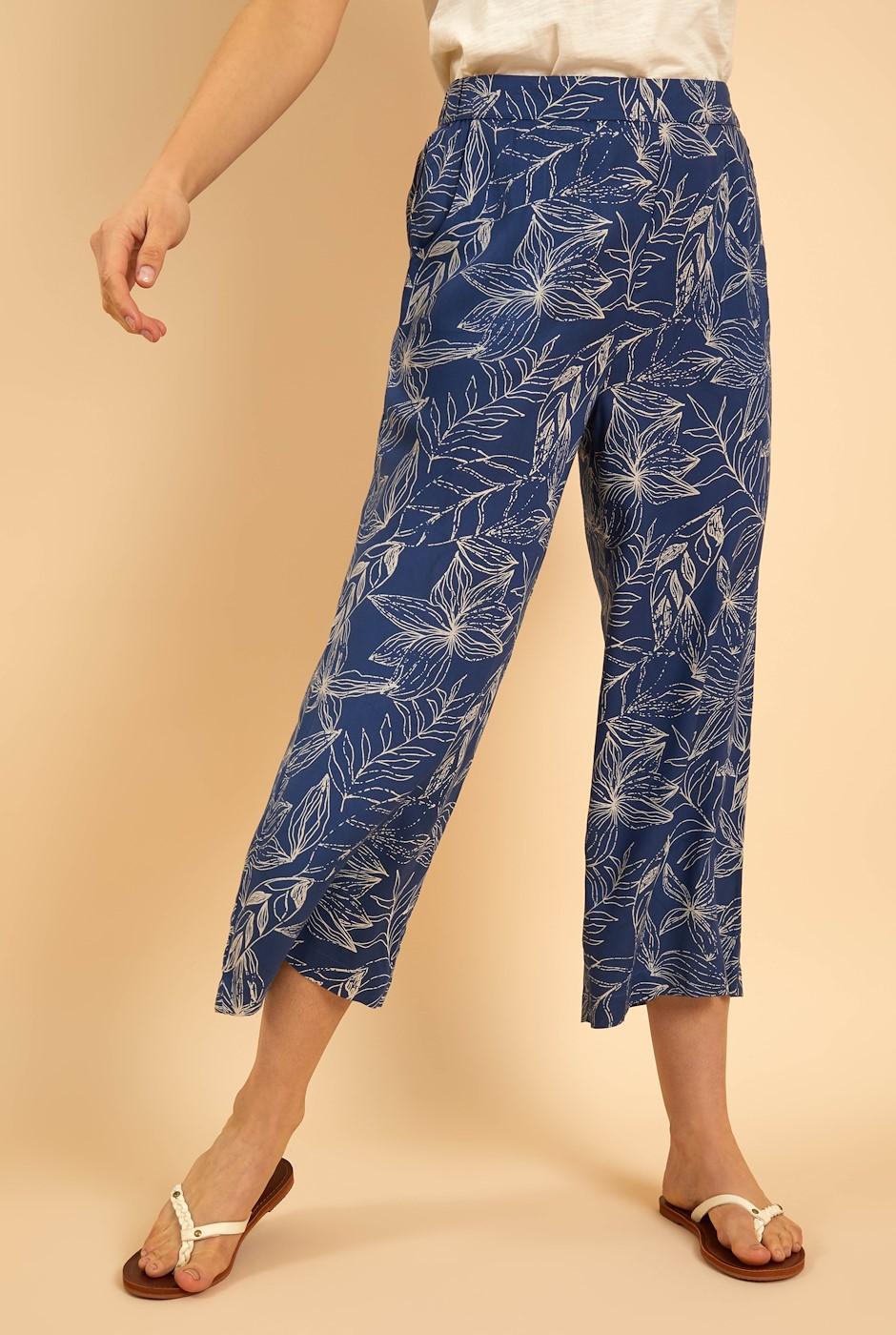 Tresco Printed Wide Leg Crop Trousers Ensign Blue