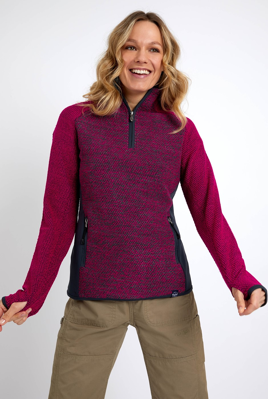 Maple 1/4 Zip Active Macaroni Dark Pink