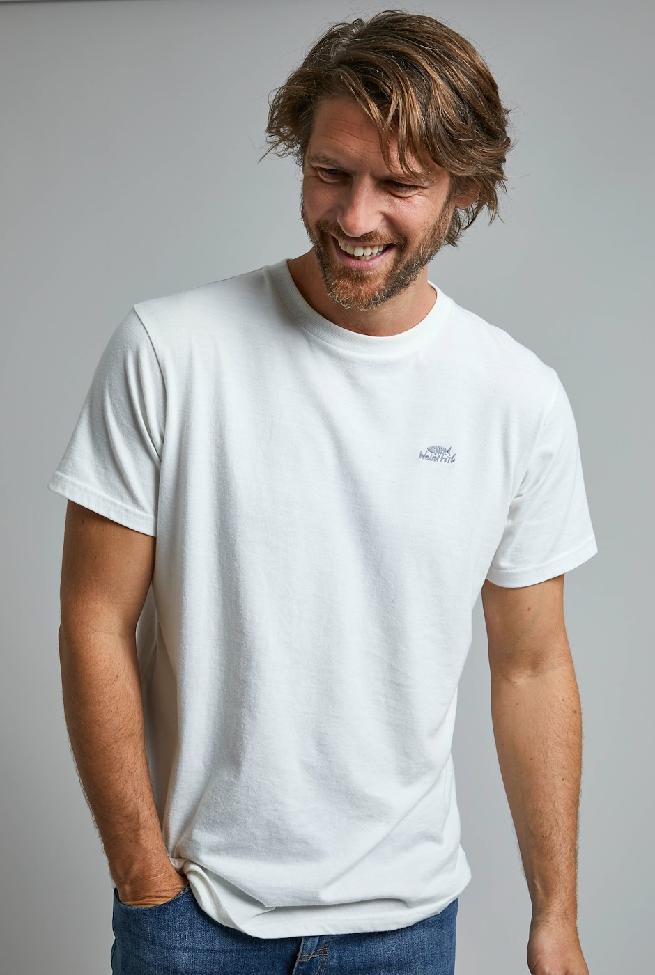 Fished Eco Branded T-Shirt Dusty White