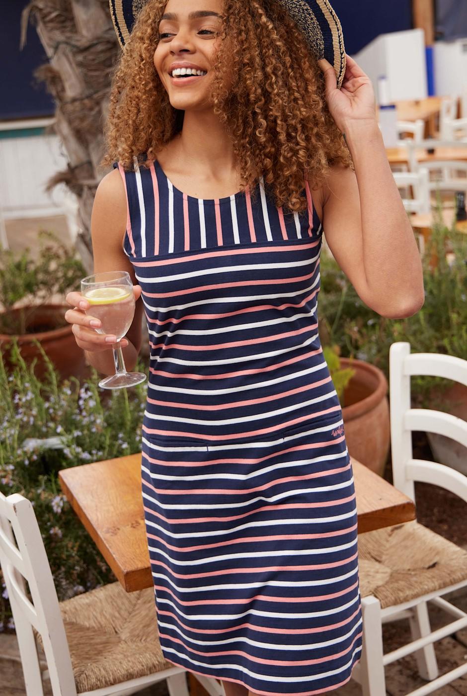 Risso Organic Cotton Stripe Jersey Dress Navy