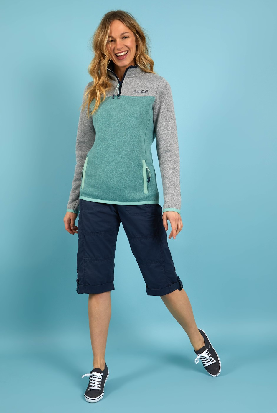 Krisona 1/4 Zip Colour Block Soft Knit Jumper Frost Grey
