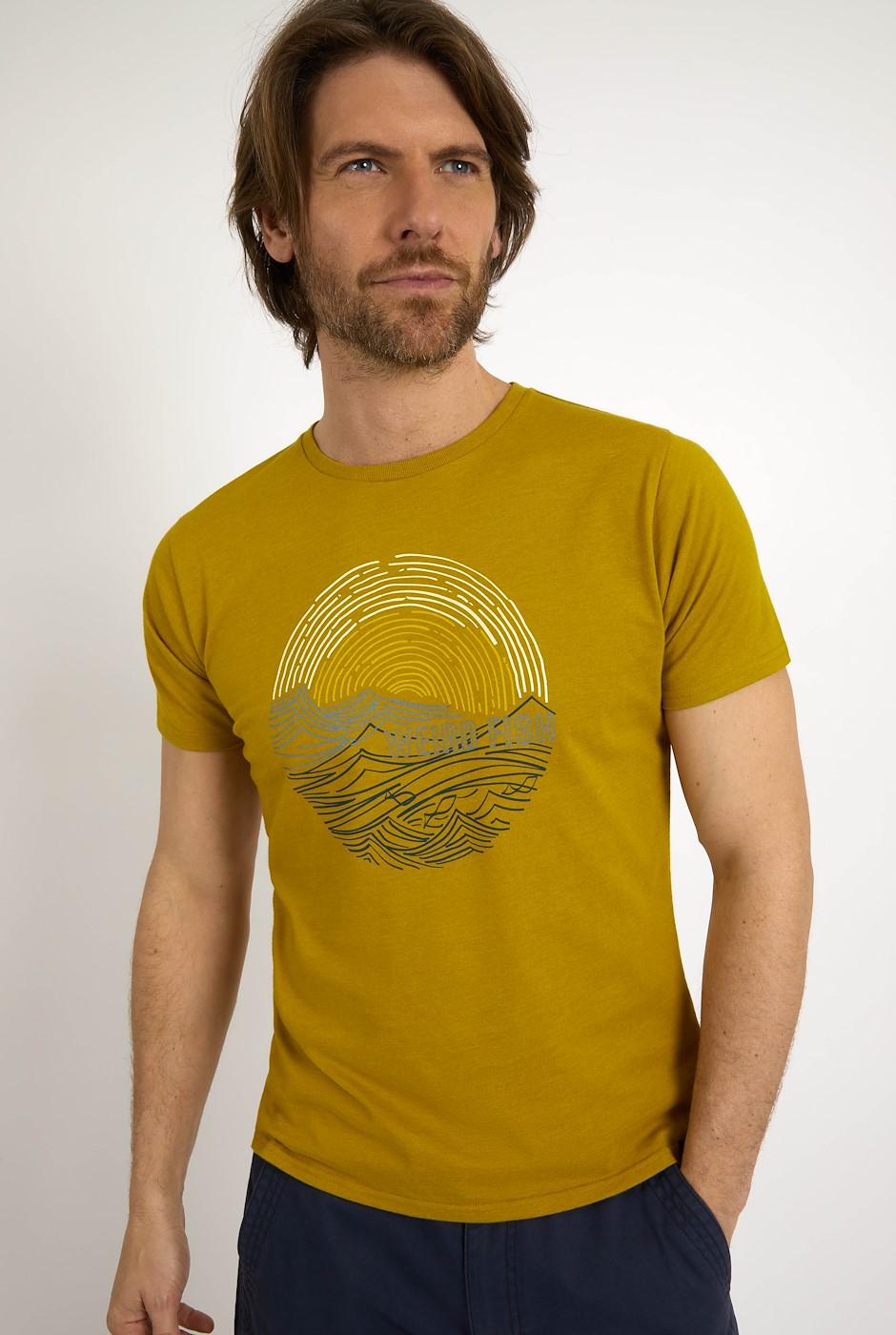 Ocean Organic Cotton Graphic T-Shirt Mustard