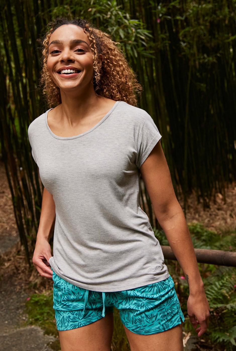 Harmonia Bamboo Printed Shorts Light Teal