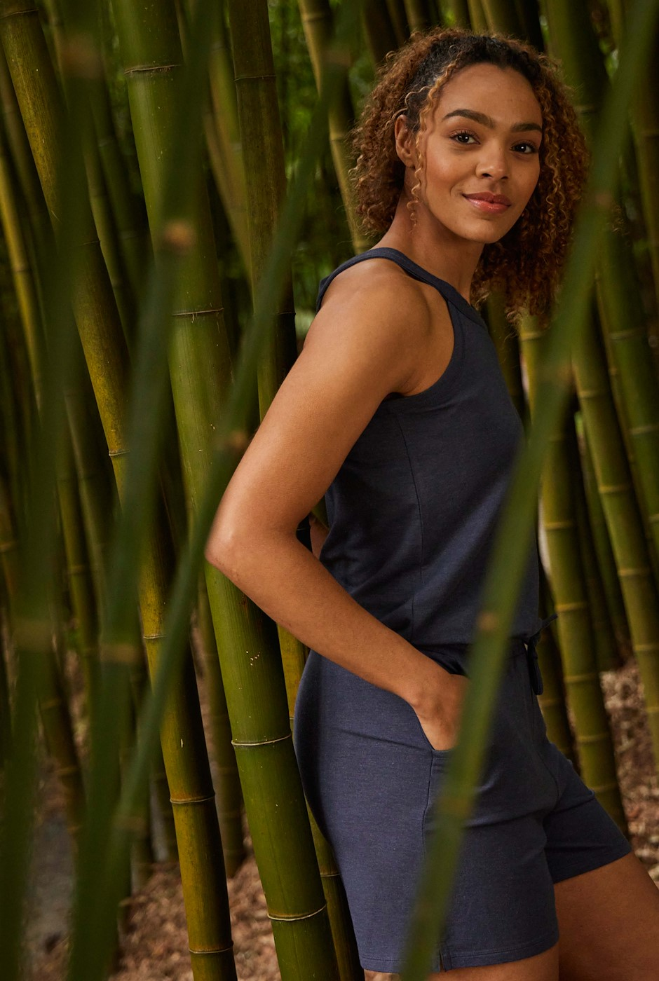 Lyme Bamboo Playsuit Navy Marl