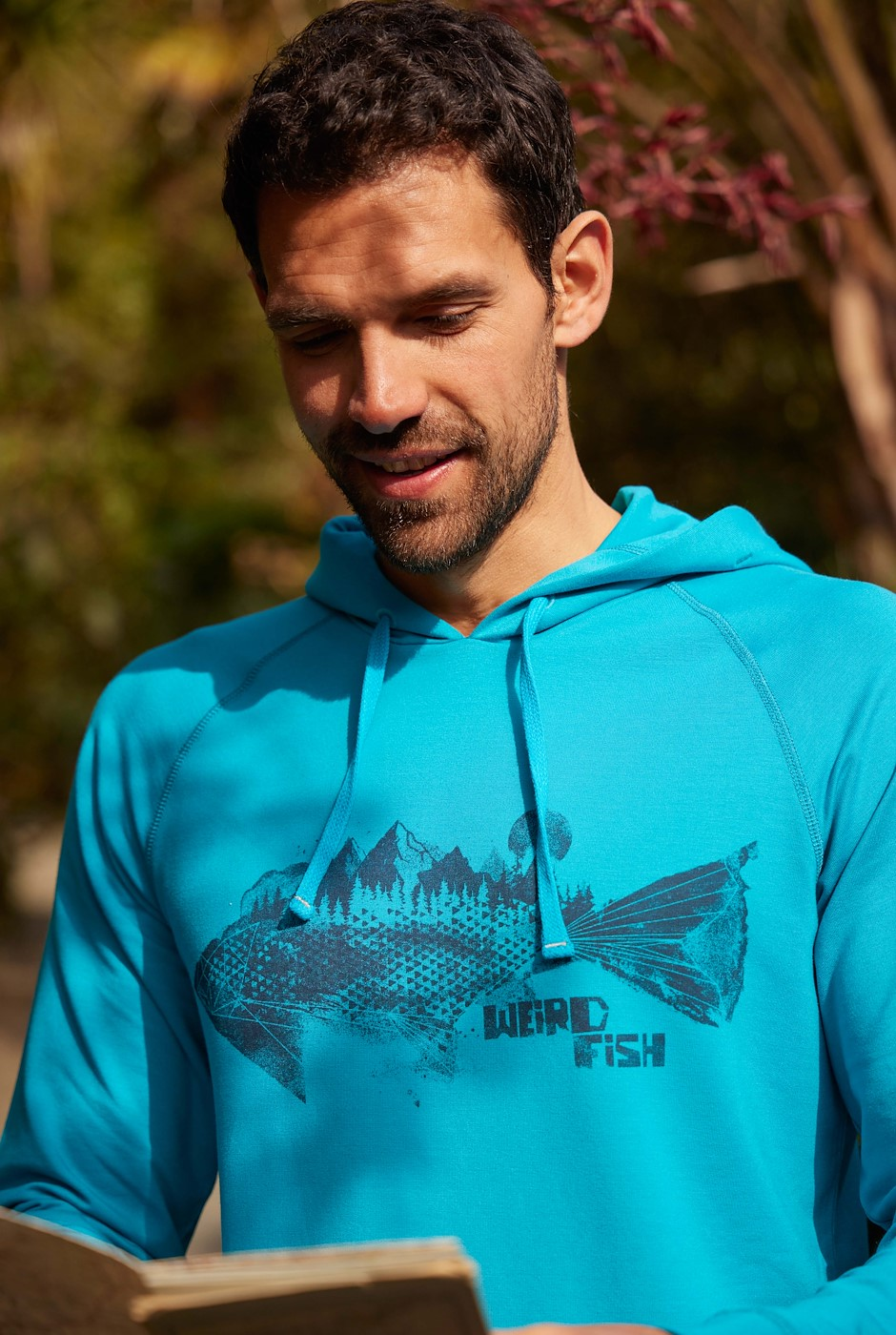 Ares Bamboo Popover Graphic Hoodie Pagoda Blue