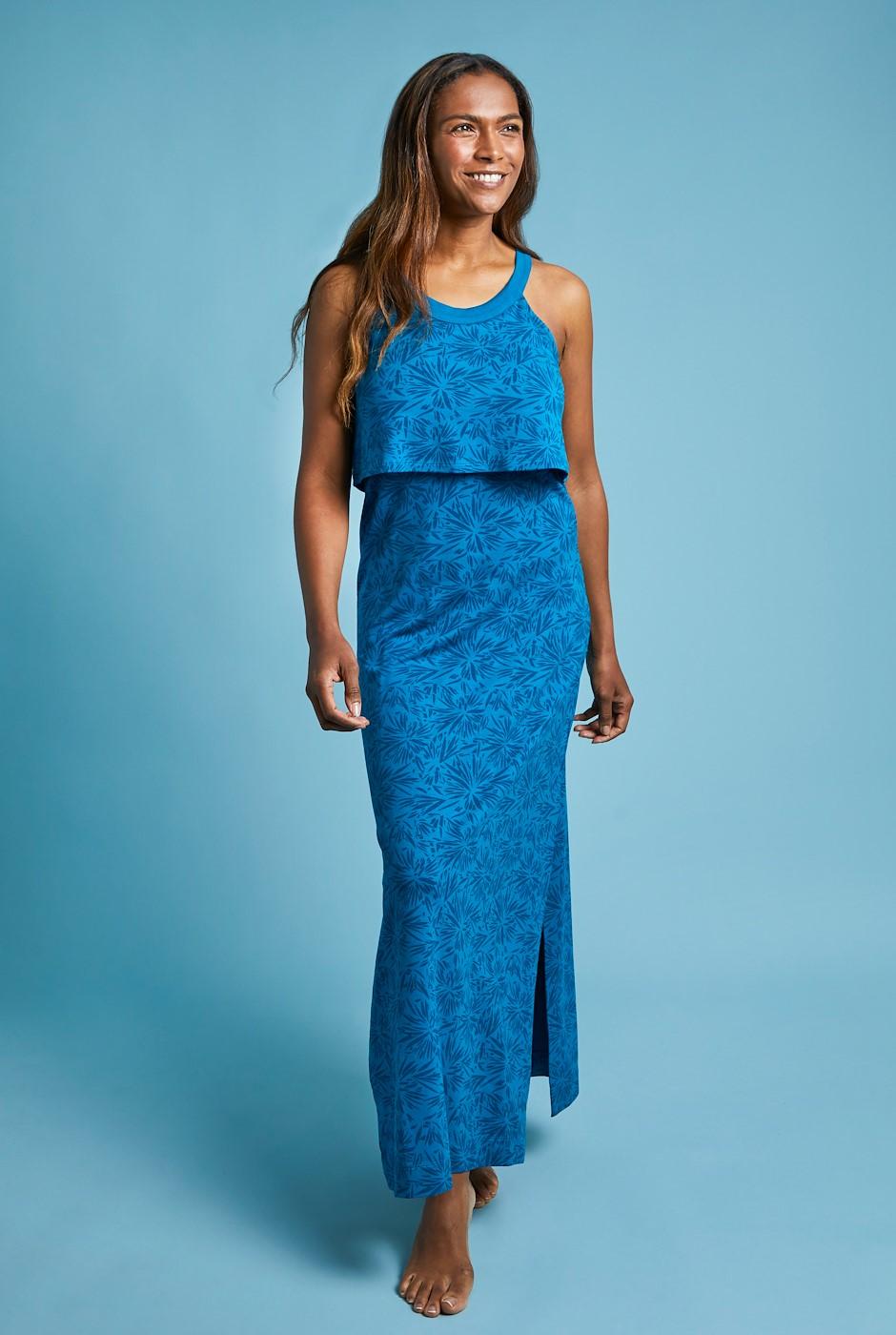 Ponte Bamboo Maxi Dress Blue Sapphire