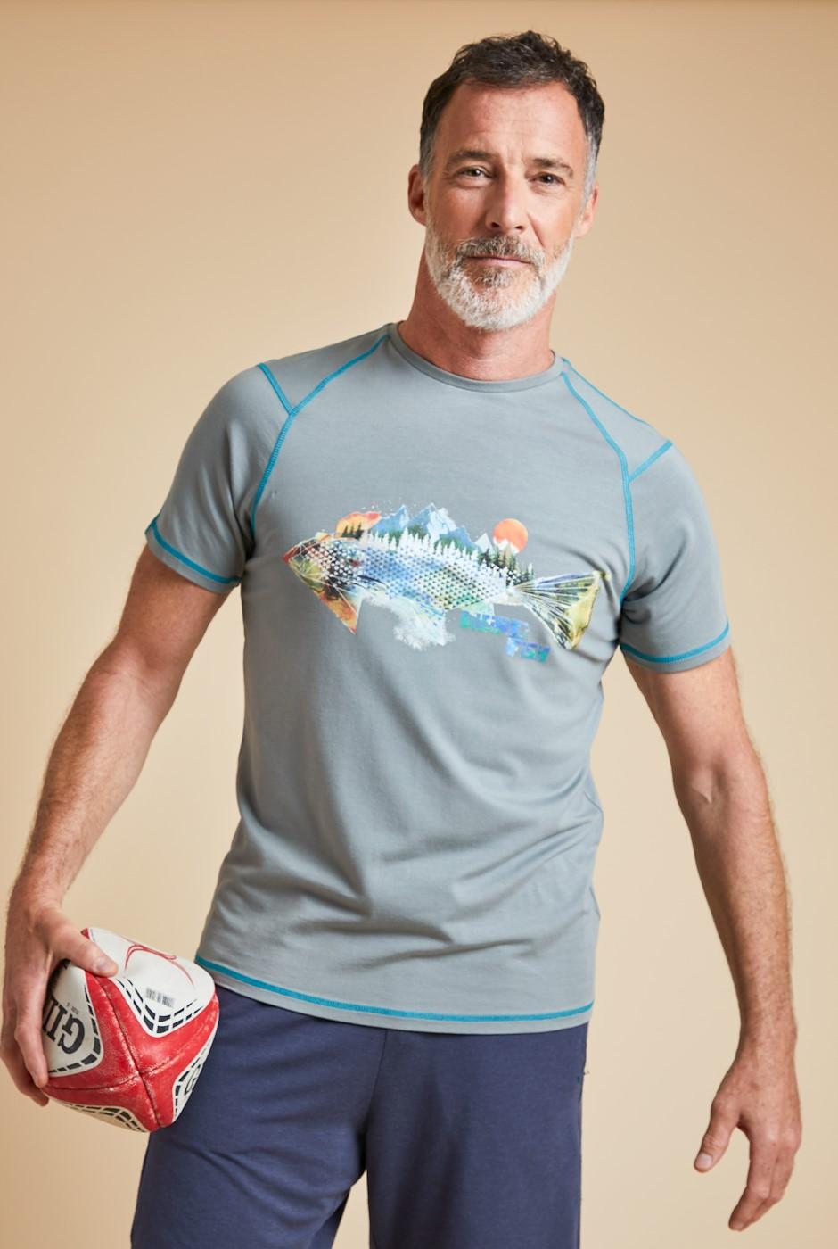 Paros Printed Bamboo T-Shirt Limestone