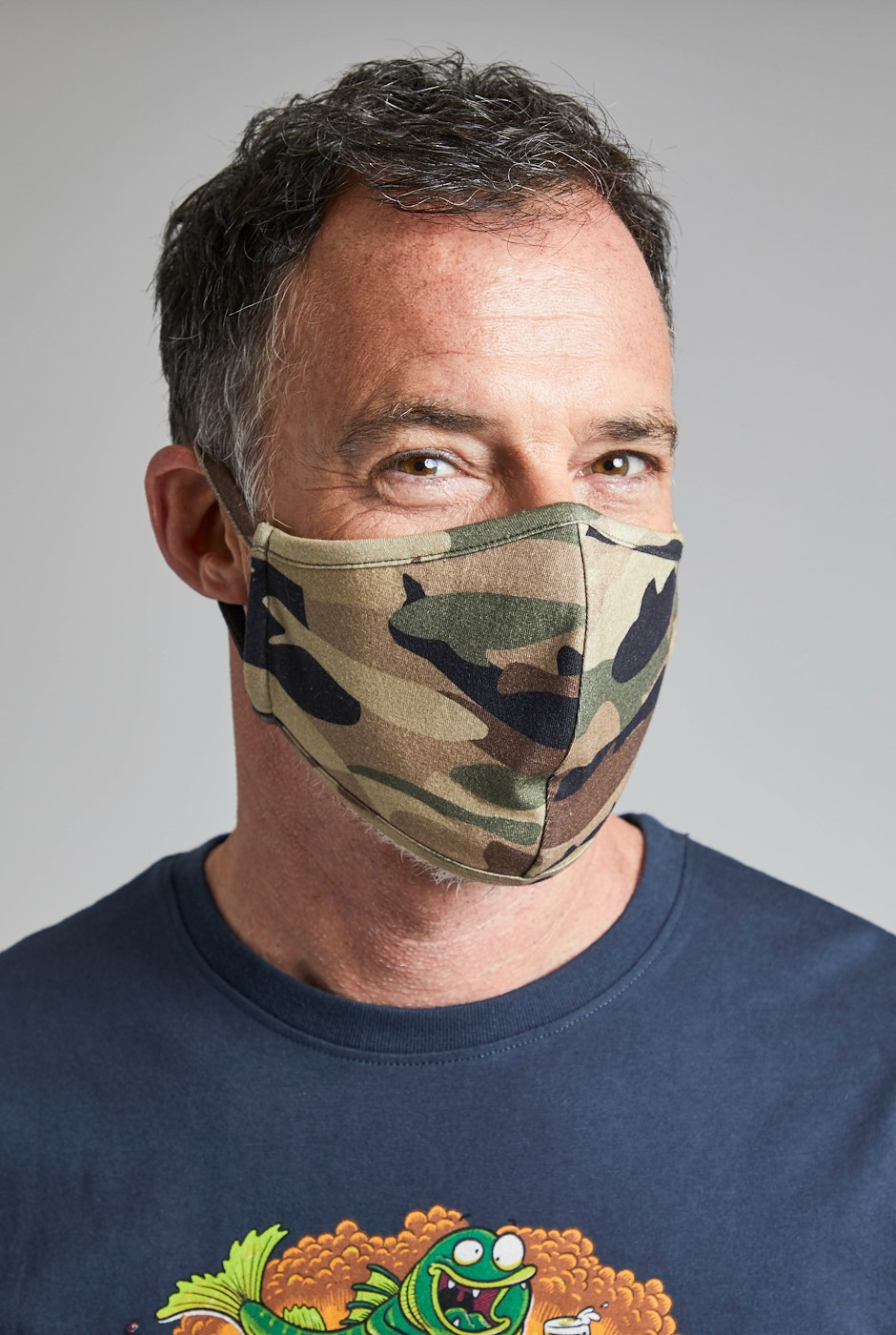 Watson Printed Jersey Face Covering Dark Olive
