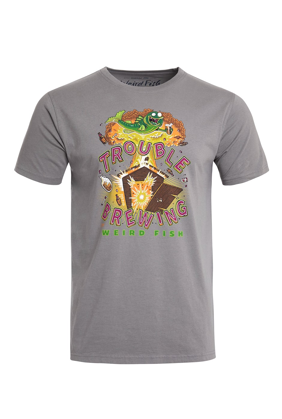 Trouble Brewing Organic Cotton Artist T-Shirt Frost Grey