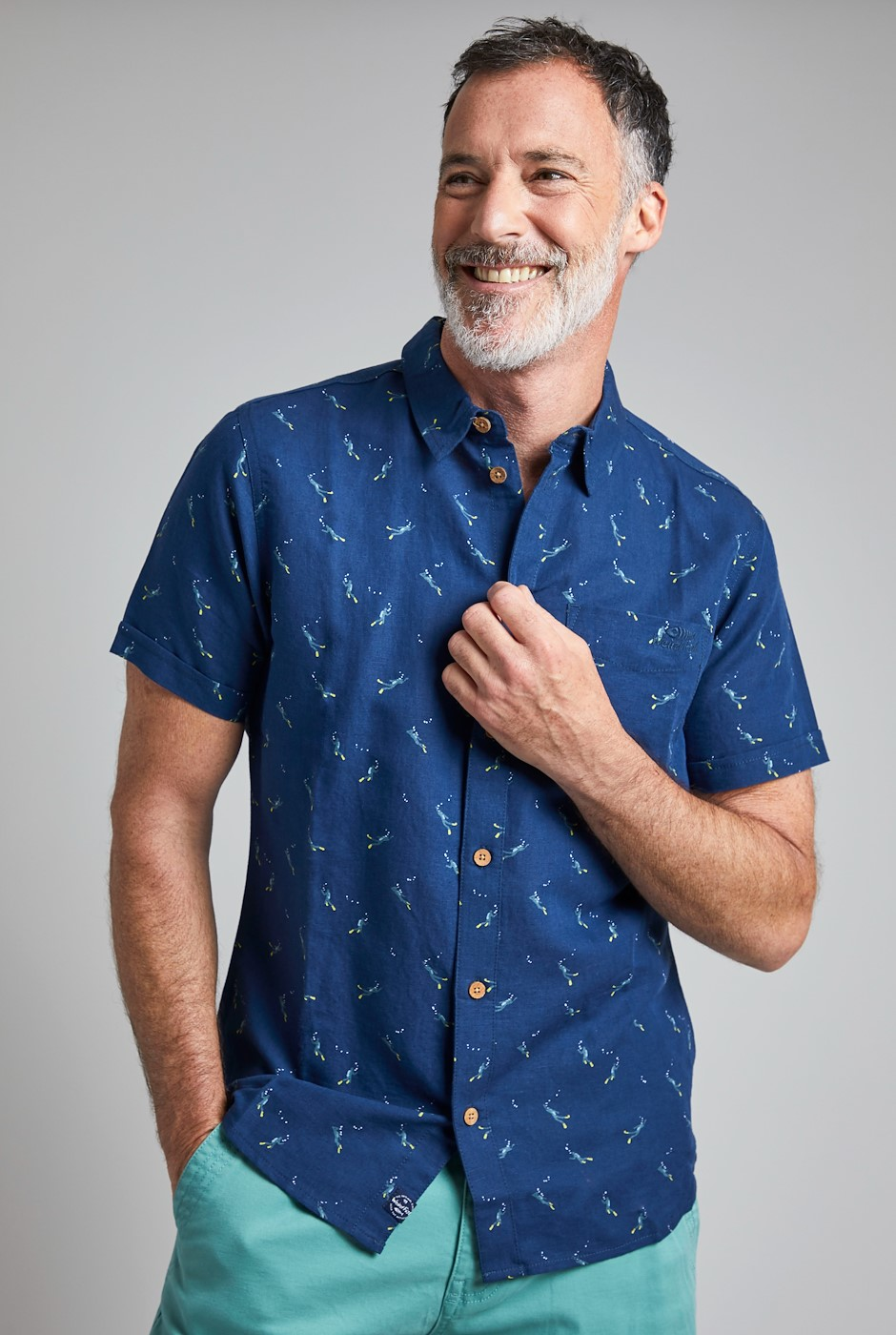 Peale Printed Linen Rich Shirt Navy