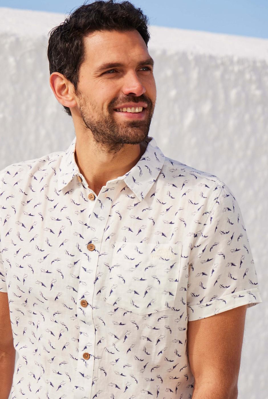 Hoy Short Sleeve Printed Linen Shirt Marshmallow