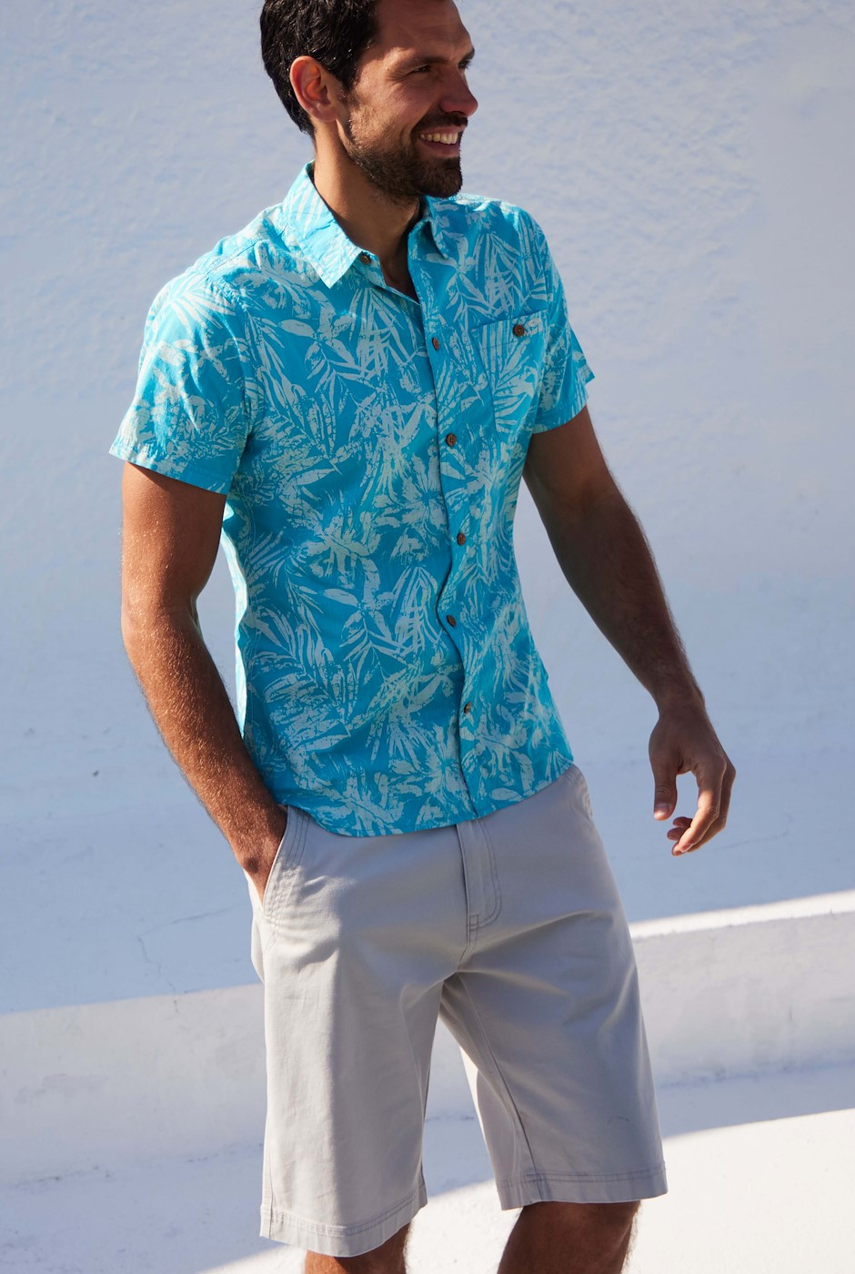 Thomkins Organic Cotton Hawaiian Print Shirt Turquoise