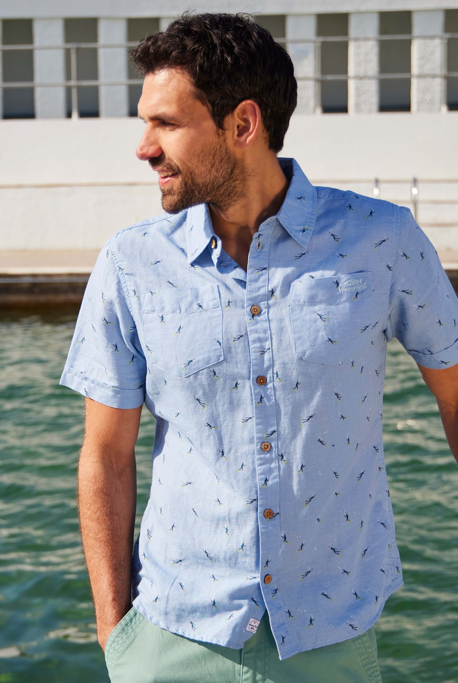 Peale Printed Linen Rich Shirt Denim