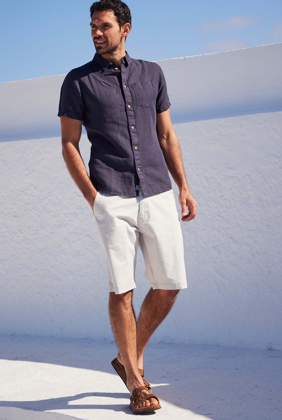 Rayburn Organic Cotton Flat Front Shorts Pearl Grey