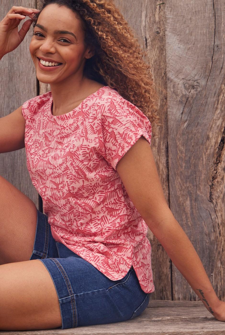 Paw Paw Organic Cotton Printed Jersey T-Shirt Tea Rose