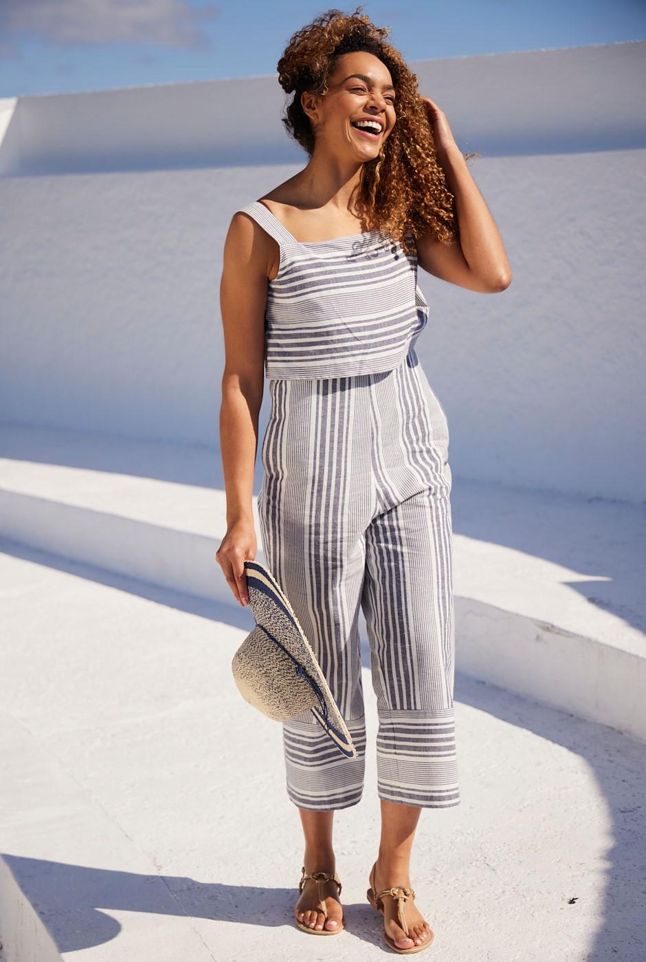 Otavia Striped Jumpsuit Navy