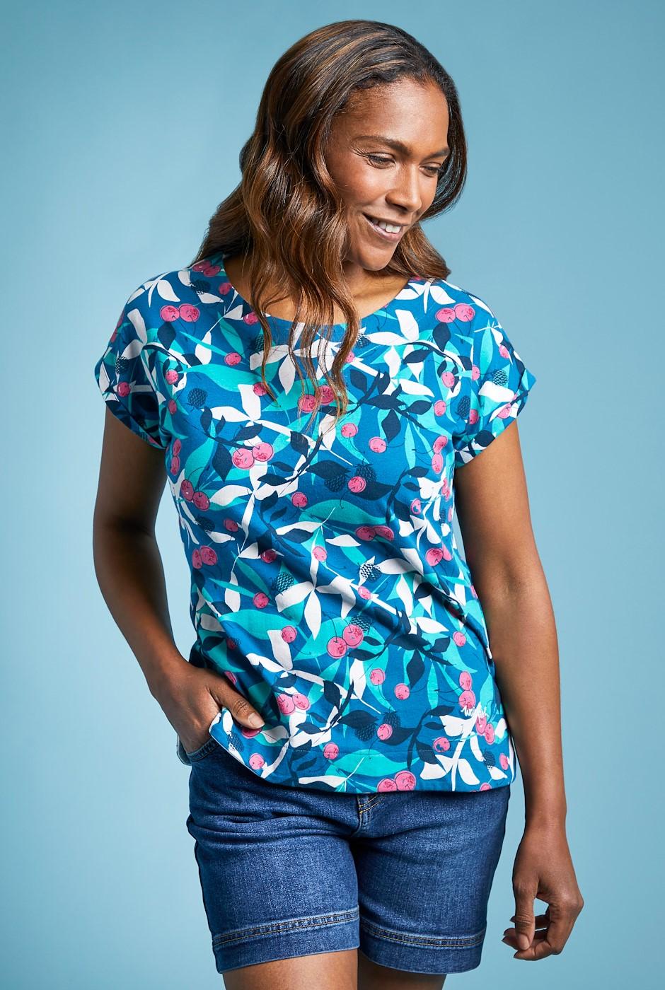 Paw Paw Organic Cotton Printed Jersey T-Shirt Majolica Blue