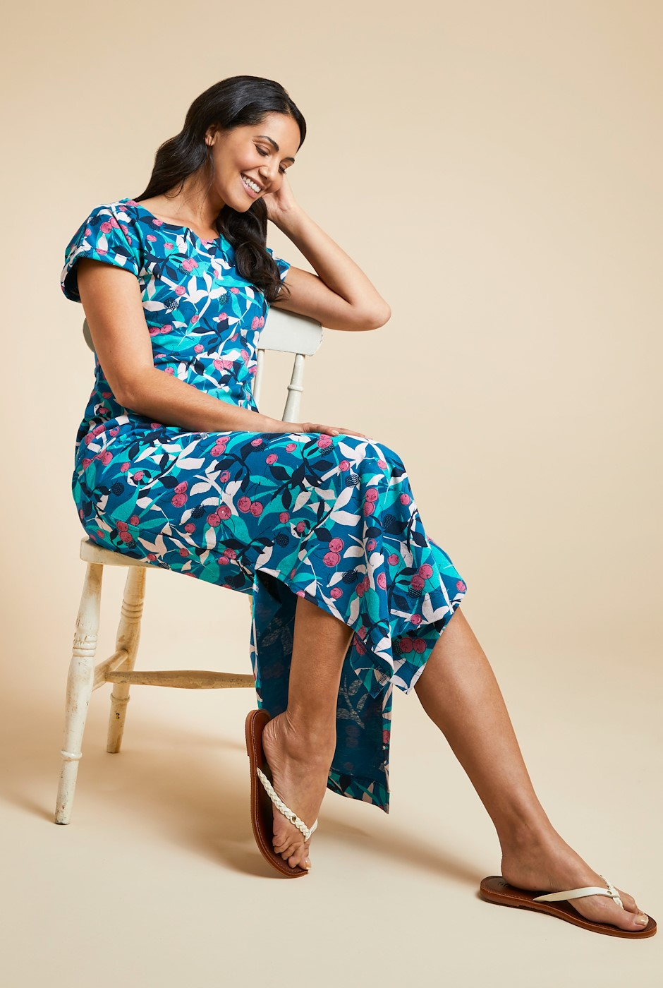 Mirren Organic Cotton Printed Maxi Dress Majolica Blue