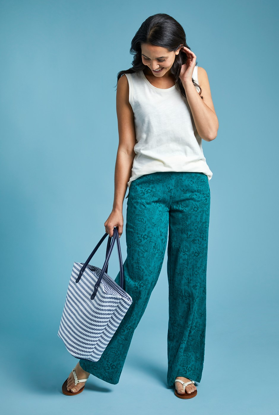 Lorena Printed Cheesecloth Wide Leg Trousers Deep Teal