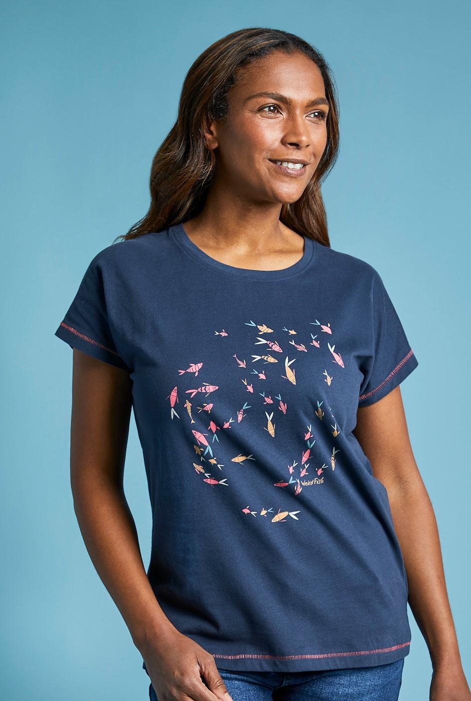 Swirl Organic Cotton Graphic T-Shirt Dark Navy