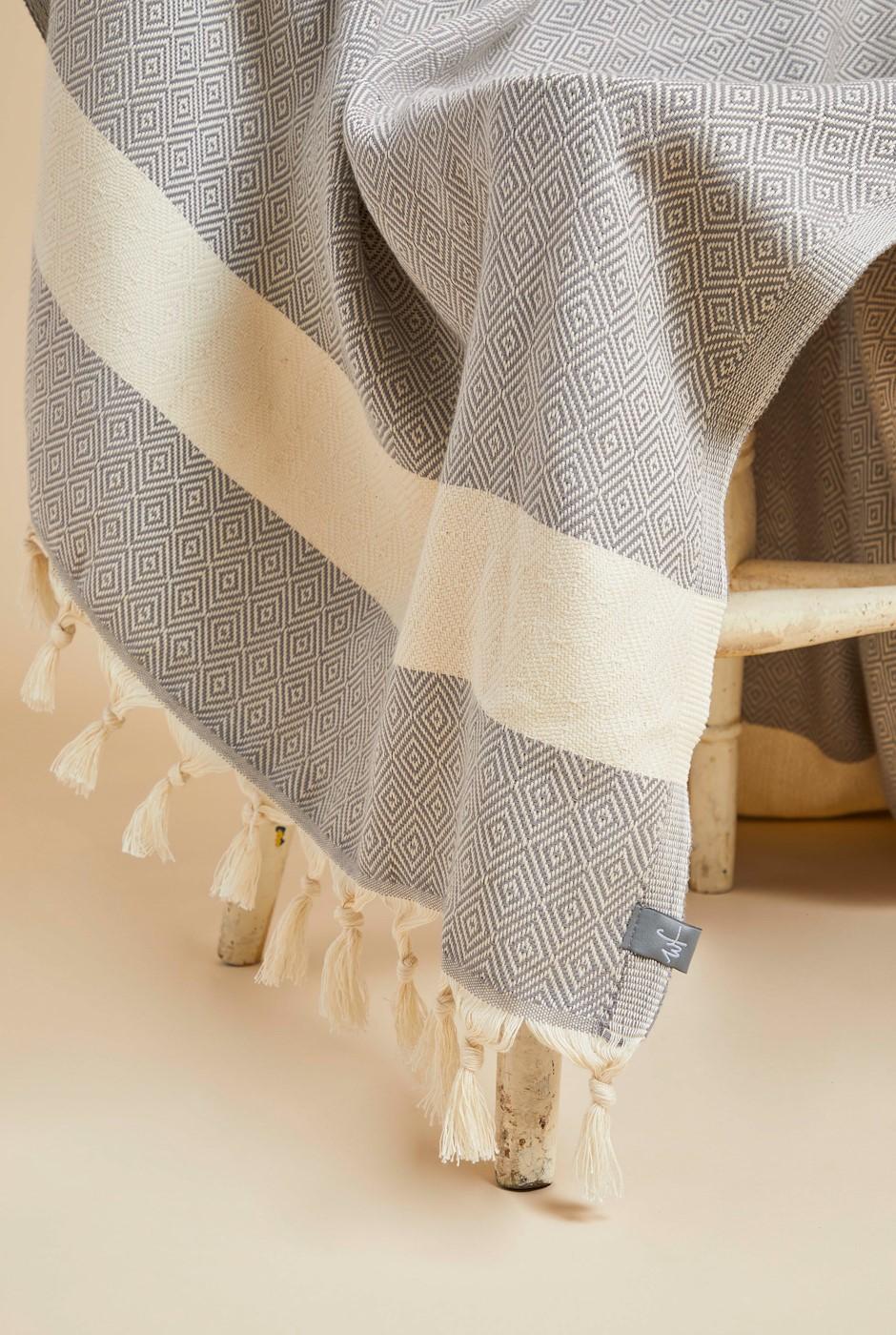 Dorado Diamond Tile Beach Towel  Grey