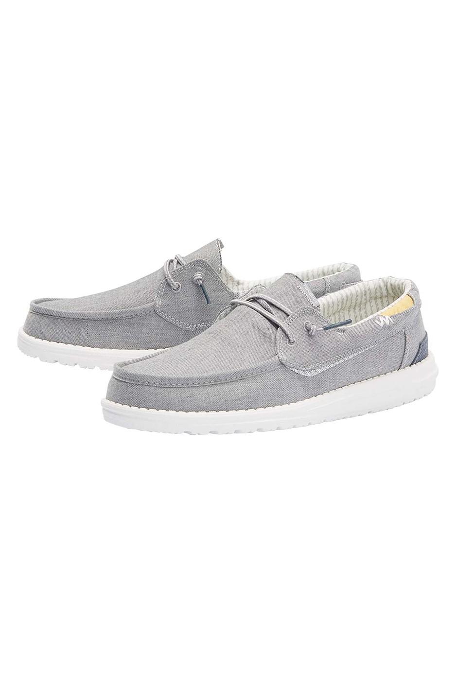 Hey Dude Walsh Cotton Upper Grey Deck Shoe Grey