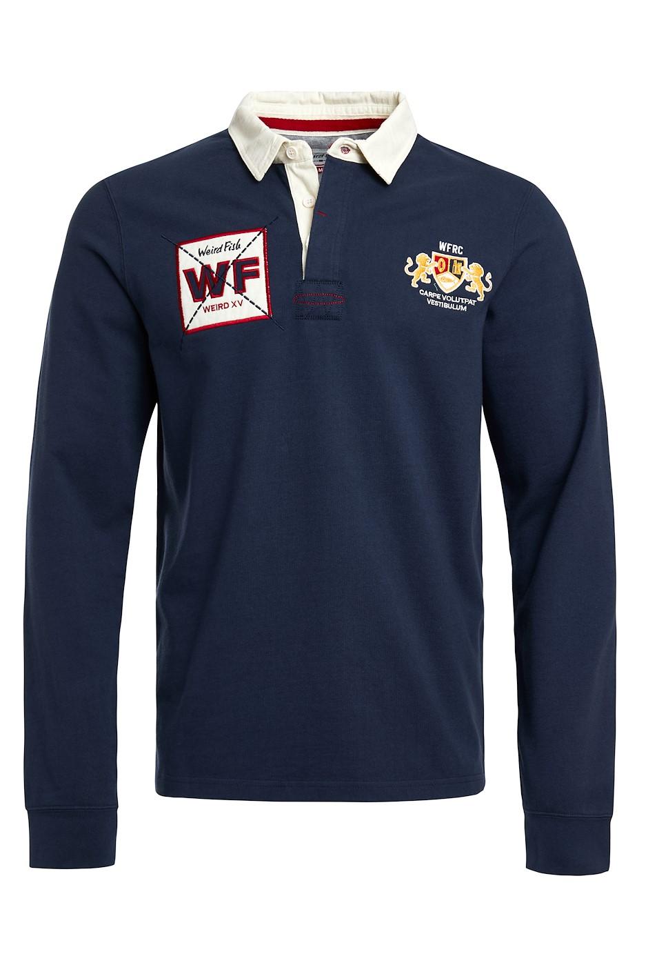 Higton Organic Long Sleeve Plain Rugby Shirt Navy