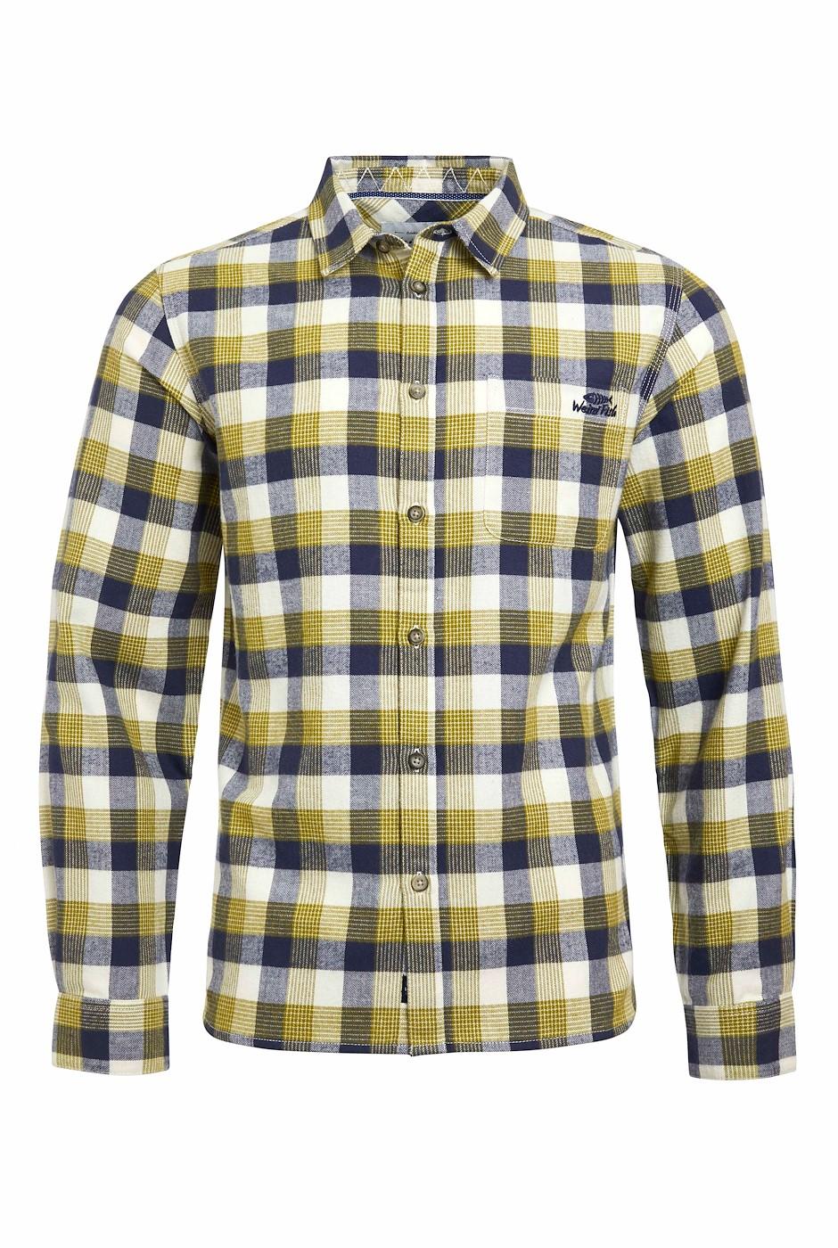 Beasley Organic Long Sleeve Herringbone Check Shirt Woodbine