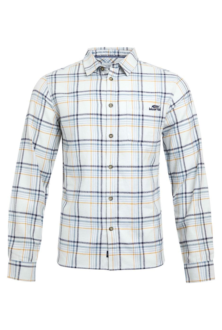 Beasley Organic Long Sleeve Herringbone Check Shirt  Pearl Grey