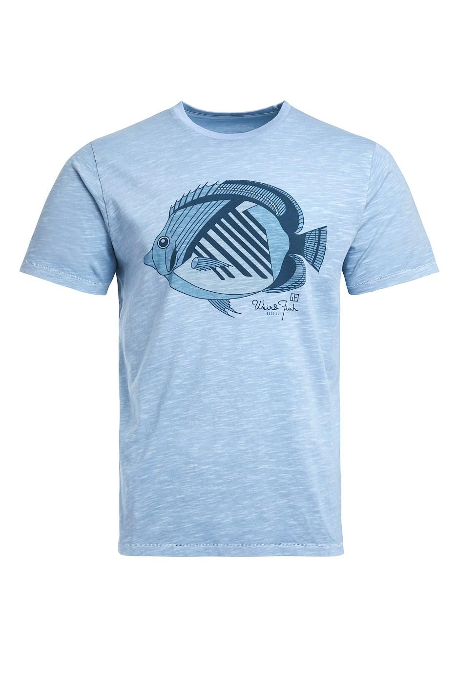 Raw Fish Organic Cotton Graphic T-Shirt Pale Denim