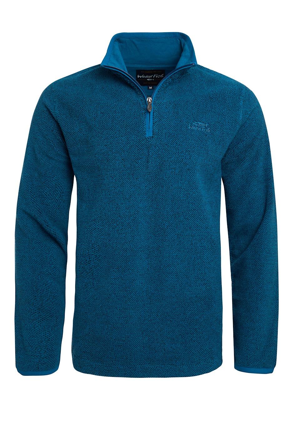 Errill 1/4 Zip Textured Fleece Petrol Blue