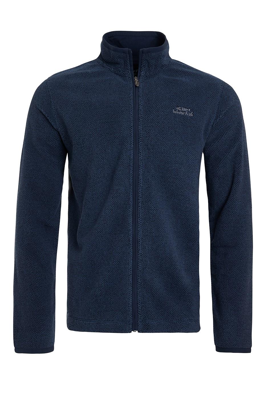 Merrill Full Zip Textured Fleece Dark Navy