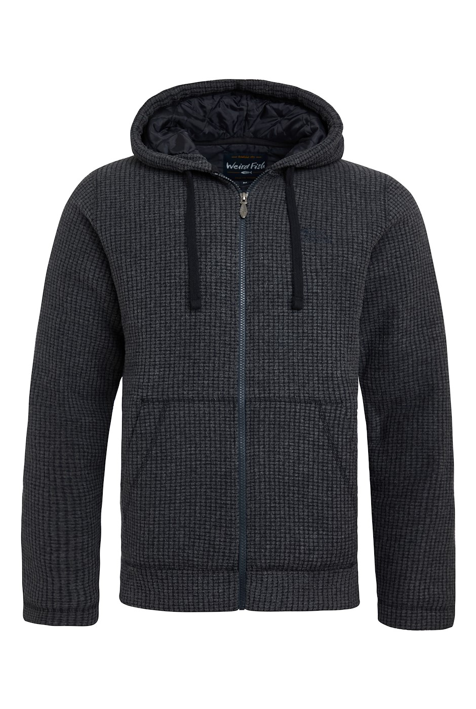 Wilton Full Zip Lined Grid Fleece Hoodie Washed Black
